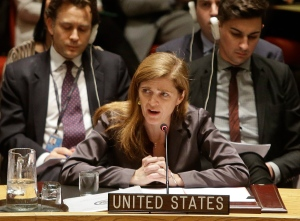 Samantha Power, the United States' ambassador to the United Nations speaks during a meeting of the U.N. Security Council on Dec. 30, 2014, at the United Nations headquarters. (Frank Franklin II / AP Photo)