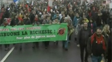 Many demonstrators were bused to Victoriaville to protest outside of Liberal convention.