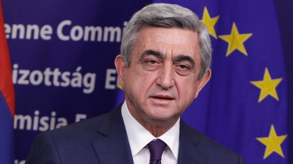 Armenian President Serzh Sargsyan speaks during a media conference at EU headquarters in Brussels on Tuesday, March 6, 2012. (AP  / Virginia Mayo)