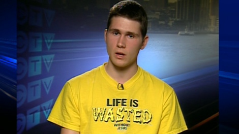 William Swinimer, was suspended for wearing this Christian T-shirt to his school in Chester Basin, N.S., appears on CTV's Canada AM on Friday, May 4, 2012.