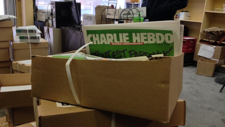Boxes of Charlie Hebdo magazines