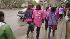 Many Winnipeggers sported pink anti-bullying shirts during a walk to support Kids Help Phone Sunday.