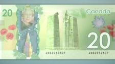The back of the new Canadian $20 bill is seen in this undated image.
