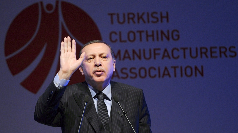 Turkey's Prime Minister Recep Tayyip Erdogan speaks during a fashion conference in Istanbul, Turkey, Thursday, May 3, 2012. (AP Photo)