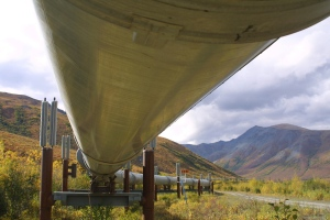 This undated file photo shows a portion of the Trans-Alaska pipeline that feeds oil to the West Coast, snakes its way across the tundra north of Fairbanks, Alaska.  (AP / Al Grillo)