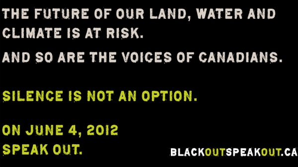 A range of groups, including the David Suzuki Foundation, World Wildlife Fund, Greenpeace and the Sierra Club, launched an ad campaign Monday called 'Black Out, Speak Out' that urges Canadians to darken their websites June 4.
