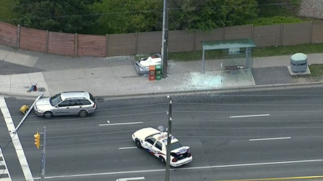 Emergency crews are on the scene after a pedestrian standing in a bus shelter on Steeles and Birchmount was struck by a vehicle, Monday, May 7, 2012.