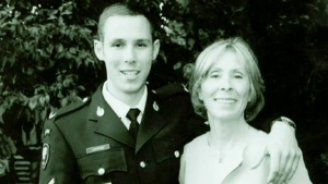Cpl. Stuart Langridge, left, and his mother Sheila Fynes, right are seen in this undated image.