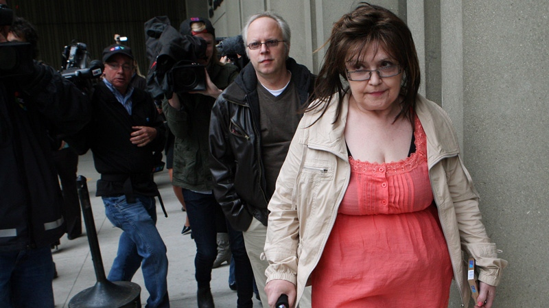 Deborah Murphy, mother of Michael Rafferty, walks from court during a break in proceedings at the Rafferty murder trial in London, Ontario, Monday, May 7, 2012. (Dave Chidley / THE CANADIAN PRESS)