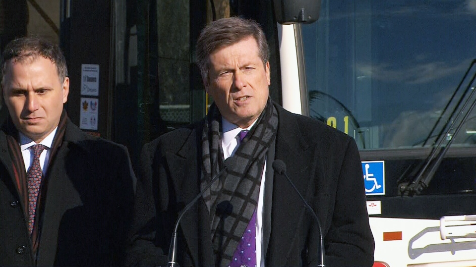 Mayor John Tory makes an announcement Monday, Jan. 19, 2015.