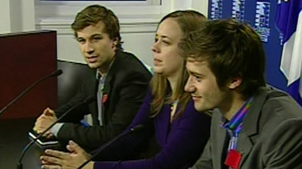 Gabriel Nadeau-Dubois, Martine Desjardins, and Leo Bureau-Blouin have been the public faces of the student movement (May 7, 2012)