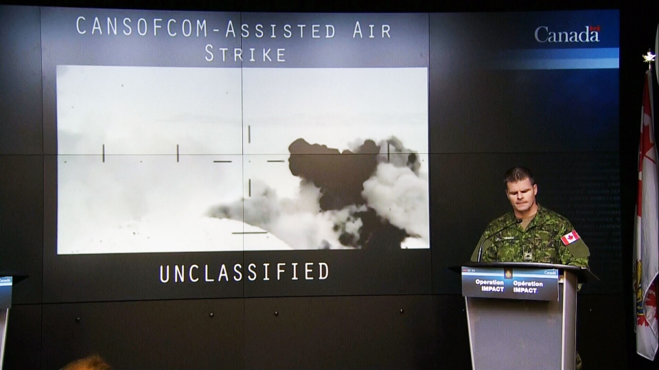Brig.-Gen. Michael Rouleau, Commander Canadian Special Operations Forces Command, speaks during a technical briefing in Ottawa, Monday, Jan. 19, 2015.