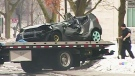 The car involved in a fatal crash on Perth Dr. in London, Ont. is seen on Sunday, Jan. 18, 2015.