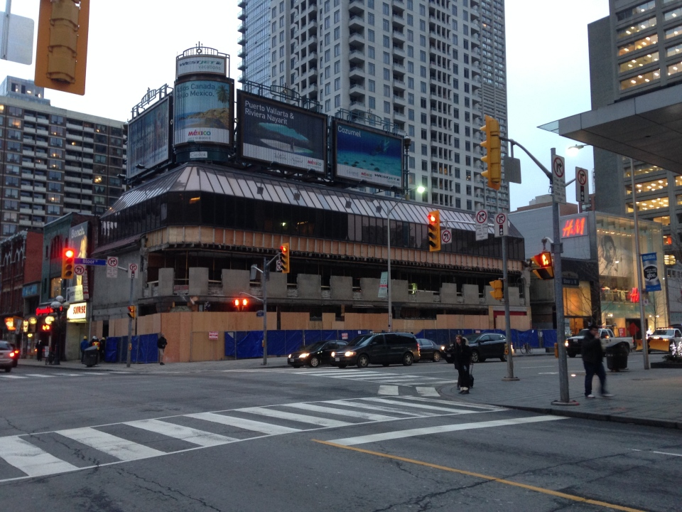 The building that formerly housed Stollerys is shown at the corner of Yonge and Bloor Streets in downtown Toronto. (George Stamou / CTV Toronto)