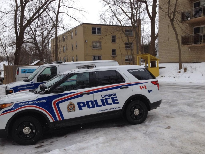 Police cruisers are seen in the area where a stabbing took place overnight in London, Ont. on Tuesday, Jan. 20, 2015. (Sean Irvine / CTV London)