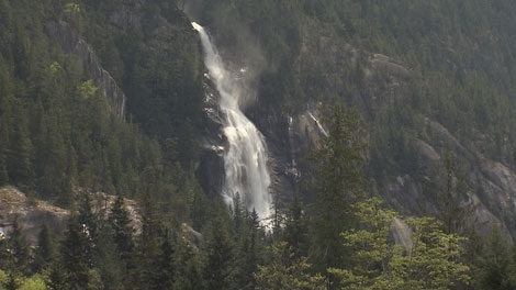 A waterfall cascades down a mountainside near the proposed site of a gondola outside of Squamish, B.C. May 8, 2012. (CTV)