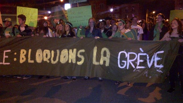 Students who oppose the 3-month-long boycott took to the streets of Montreal Monday night (May 7, 2012)