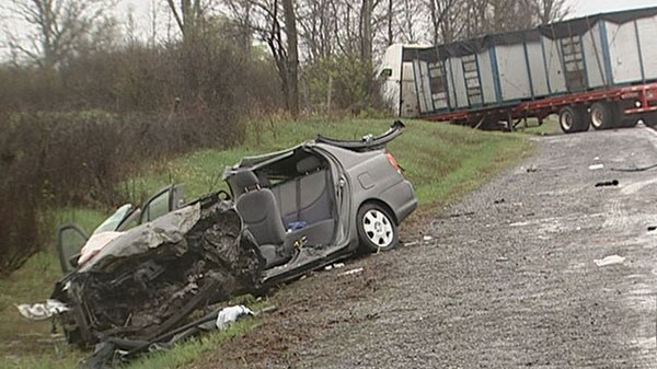 17-year-old girl seriously hurt when Toyota Echo collides with tractor-trailer on May 8, 2012.