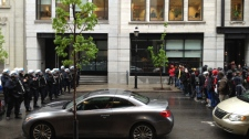 Police and anti-tuition-hike protesters faced off in Old Montreal Tuesday morning (May 8, 2012, CTV Montreal/Jean-Luc Boulch)