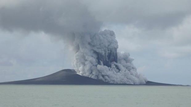 A volcano erupts near Tonga
