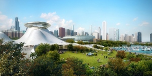 Concept art for the Lucas Museum of Narrative Arts is shown. (Lucas Museum of Narrative Arts / MAD Architects)