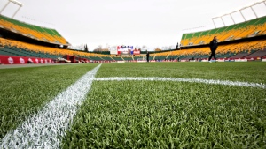 The artificial turf is shown before an international women's soccer friendly between Canada and Japan at Commonwealth Stadium in Edmonton, Alta., on Saturday, Oct. 25, 2014. (Jason Franson / THE CANADIAN PRESS)