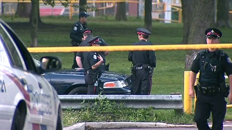 Toronto police are investigating after a body was found in a mid-town park on Wednesday, May 9, 2012.
