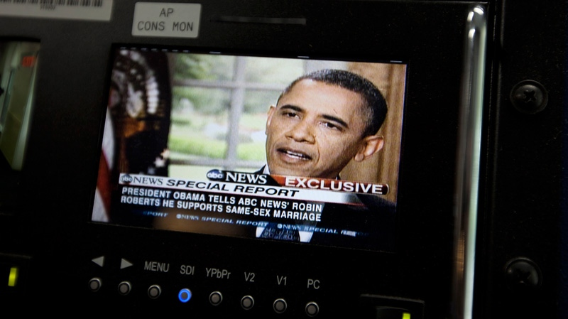 U.S. President Barack Obama is seen on a monitor in the White House briefing room in Washington, Wednesday, May 9, 2012. President Barack Obama told an ABC interviewer that he supports gay marriage. (AP / Carolyn Kaster)