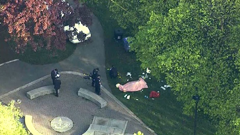 Police investigate a murder after a body was found at Oriole Park in downtown Toronto, Wednesday, May 9, 2012.