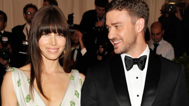 Justin Timberlake and Jessica Biel arrive at the Metropolitan Museum of Art Costume Institute gala benefit Monday, May 7, 2012 in New York. (AP / Charles Sykes)