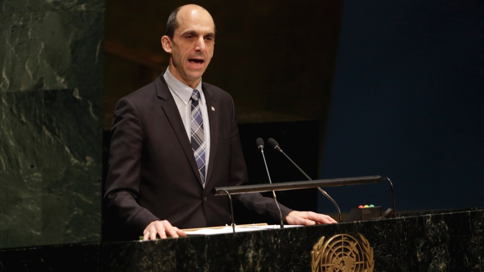 Canada's Minister of Public Safety and Emergency Steven Blaney addresses the United Nations General Assembly, Thursday, Jan. 22, 2015. (AP / Richard Drew)
