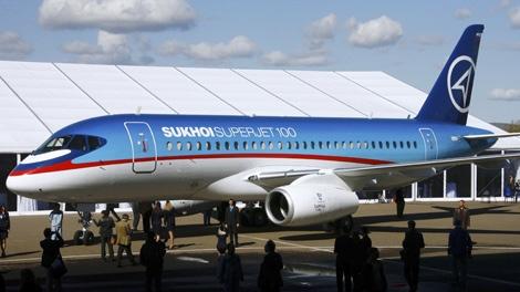 The Sukhoi Superjet-100 is seen in a file photo. An official says air controllers have lost contact with the Russian-made plane similar to this one shown May 9, 2012 carrying 46 people in western Indonesia. (RIA-Novosti / Ruslan Krivobok)