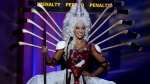 Miss Canada, Chanel Beckenlehner, poses for the judges, during the national costume show during the 63rd annual Miss Universe Competition in Miami, Fla., Wednesday, Jan. 21, 2015. (AP / J Pat Carter)