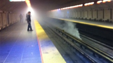 Chris Brooker submitted this photo of a smoke bomb in the Prefontaine metro through MyNews (May 10, 2012)