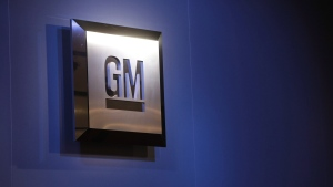 In this Jan. 12, 2009, file photo, the General Motors logo is seen on display at the North American International Auto Show in Detroit. (Paul Sancya/AP Photo)