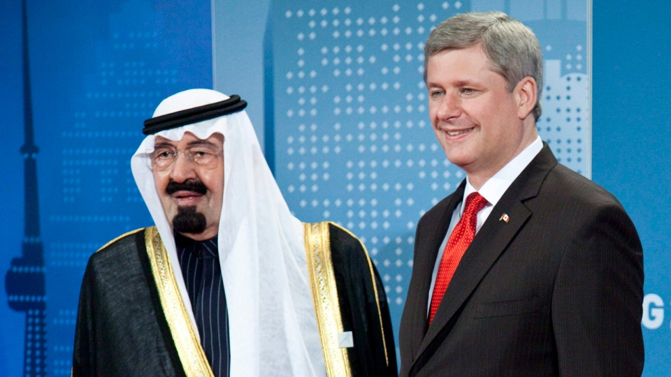 Prime Minister Stephen Harper greets King Abdullah bin Abdulaziz Al Saud at the G20 Summit in Toronto, on Saturday, June 26, 2010. (The Canadian Press / Paul Chiasson)