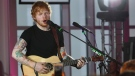 British singer Ed Sheeran performs in the panorama restaurant on Germany's Zugspitze mountain, Monday Dec. 15, 2014. (dpa, Karl-Josef Hildenbrand)