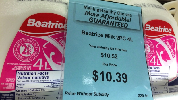 Milk at a grocery store in Iqaluit, Nunavut