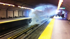MyNews contributor Chris Brooker shared this photo of smoke at the PreFontaine Station  in Montreal on May 10, 2012. (MyNews.CTV.ca / Chris Brooker)