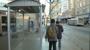 A heated bus shelter is seen on Eleventh Avenue in downtown Regina on Friday.