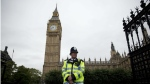 A British police officer stands guard outside the Houses of Parliament in London, Monday, Sept. 1, 2014. (AP / Matt Dunham)