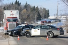 One man was killed in a head-on crash between a cargo van and a transport truck in Erin, Ont., on Friday, Jan. 23, 2015. (Andrew Collins / CTV News)
