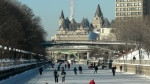 The Fairmont Chateau Laurier creates a beautiful backdrop for skating along the Rideau Canal Skateway in Ottawa. (Phil/CTV Viewer)