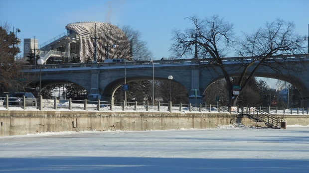 Bank Street bridge and TD Place from the Rideau Canal Skateway in Ottawa. (P. Seguin/CTV Viewer)