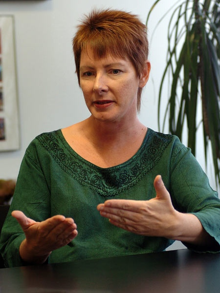 "In this Aug. 21, 2008 photo, author Sherry Jones explains why Random House Publishing canceled her book on the prophet Muhammad's first wife, ""The Jewel of Medina,"" in Spokane Wash. (AP Photo / James Snook)"