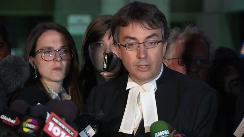 Dirk Derstine, the lawyer for Michael Rafferty, speaks to the media about the verdict outside the courthouse in London, Ont. on Friday, May 11, 2012.