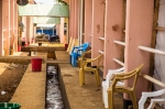 An empty area outside a Ebola virus recovery ward, at the Hastings treatment clinic, in Freetown, Sierra Leone, on Friday, Jan. 23, 2015. (AP/ Michael Duff)