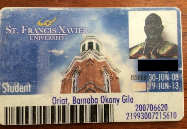 Gilo's ID card from St. Francis Xavier University.