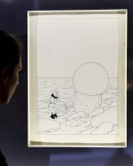 Herge's 'L'Etoile Mysterieuse' ('Shooting Star') drawing of Tintin is shown in this file photo. (AFP / Emmanuel Dunand)