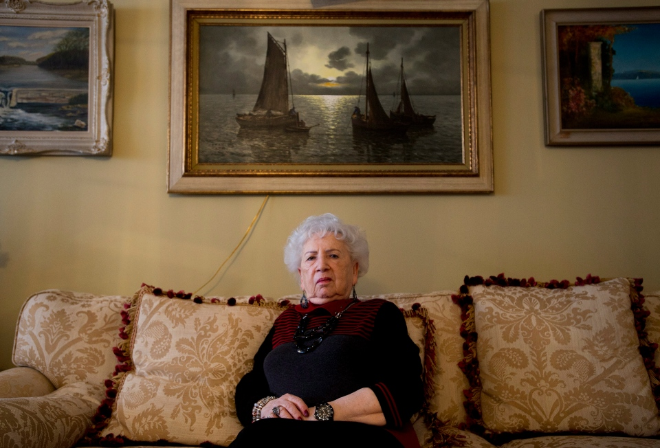 Miriam Friedman Ziegler, 79, an Auschwitz holocaust survivor, tells her story at her home in Thornhill, Ont., on Monday, Jan. 19, 2015. (Nathan Denette / THE CANADIAN PRESS)